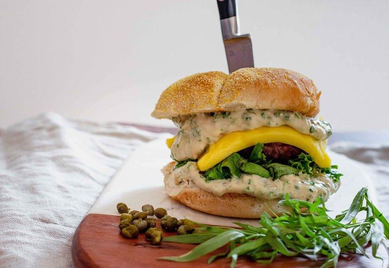 Burger végane sauce tartare