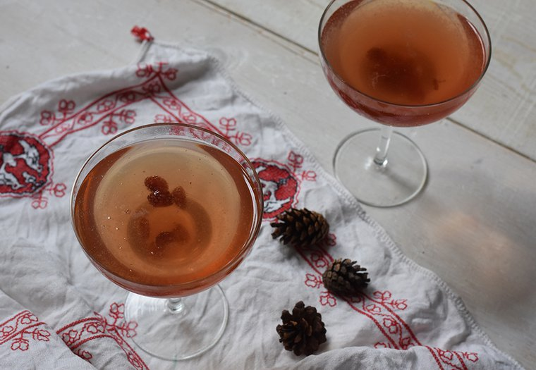 Cocktail de Noël au champagne