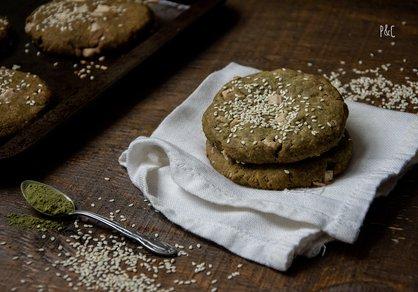 Cookies au matcha et chocolat blanc véganes