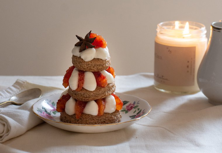 Dessert de noël facile à l'orange sanguine et aux épices