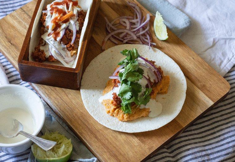 Tacos à la patate douce et protéine de soja