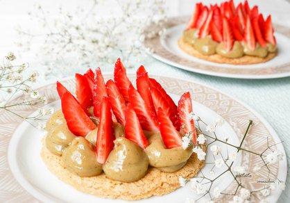 Tartelettes sablées pistache-fraise vegan