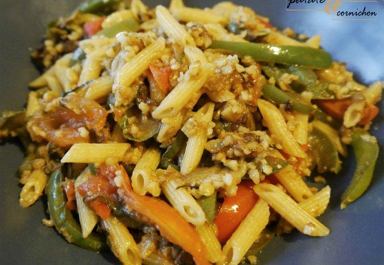 Wok de céréales aux légumes